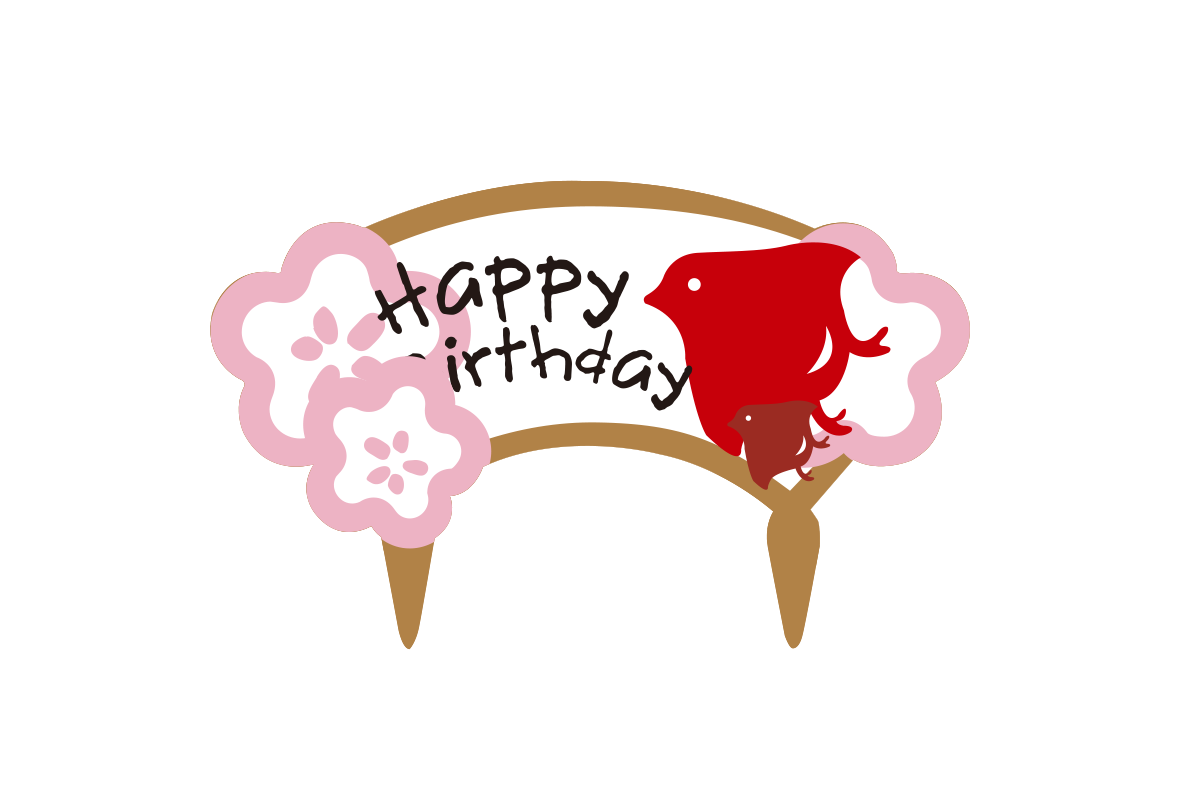 櫻花Happy Birthday 蛋糕插牌